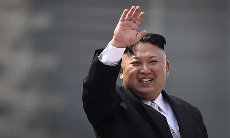 North Korean dictator Kim Jong-un waves during a military parade in Pyongyang on 15 April.