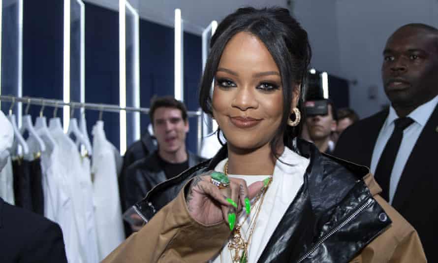 Rihanna's lime-coloured nails