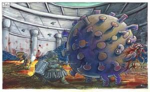 Martin Rowson cartoon 12.1.21: Boris Johnson, with a colander for a helmet, ineffectually jabs a syringe at the coronavirus monster