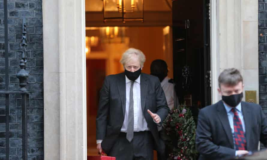 Boris Johnson leaves  Downing Street  on his way to open the debate on the second reading of the EU (future relationship) bill in the Commons