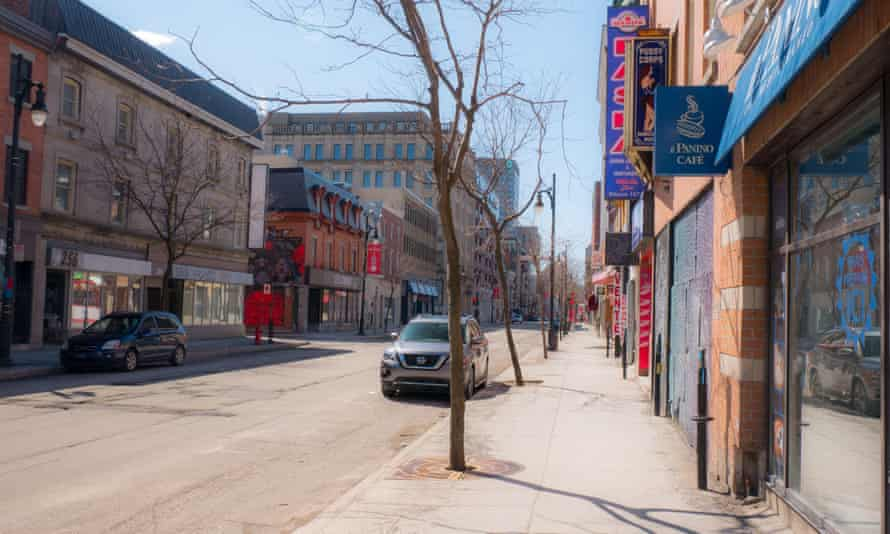 The empty streets of downtown Montreal.