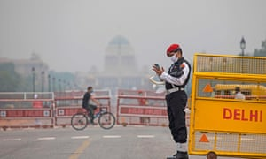 A military police officer on duty at Rajpath road in New Delhi on Wednesday.