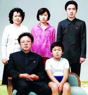 Kim Jong-un as a boy with his father, front left, and other family members.