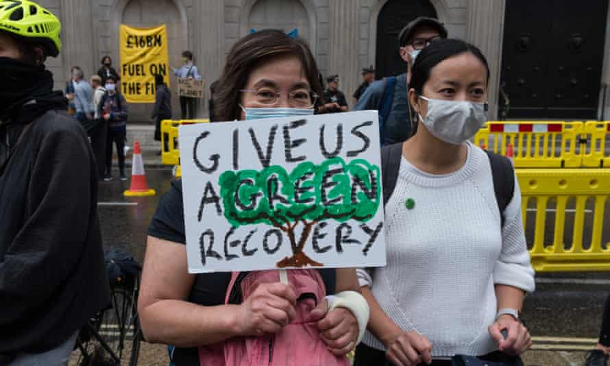 Extinction Rebellion protesters at the Bank of England, London, July 2020