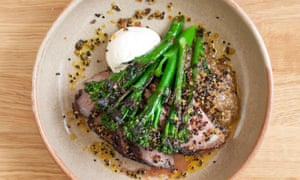 Lamb rump with smoked aubergine, charred broccoli, and tahini.