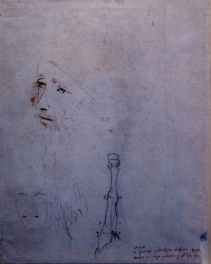 The sketch of a smiling youth and an older man possibly done by an assistant, alongside Leonardo's sketch of a horse's leg.