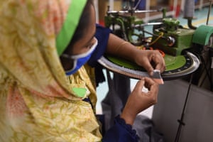 A woman works in a garment factory in Gazipur, Bangladesh,