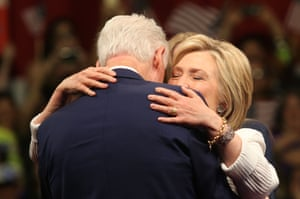 Hillary Clinton hugs husband Bill Clinton after her primary night victory rally.
