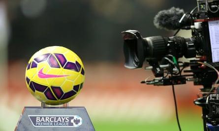 tv cameras filming a premier league ball