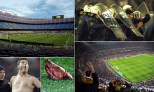 A match this season at an empty Camp Nou; Barcelona's Pep Guardiola is escorted off the pitch in 1997; fans at last season's meeting in Barcelona; a pig's head and a streaker – seen at past clásicos.