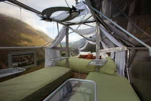 Inside a Skylodge pod.