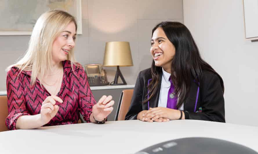 Elaine Mcloughlin, an Access Project tutor provides support and encouragement to school pupil Linah Begum.