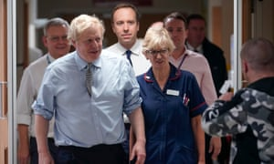 Boris Johnson visiting a hospital in Worksop during the general election campaign