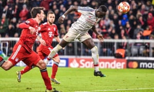 Sadio Mané heads Liverpool into a 3-1 lead at Bayern Munich