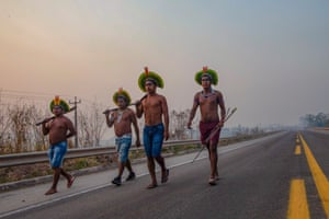 Novo Progresso, Brazil: Members of the Kayapo indigenous group block a highway during a protest against illegal deforestation
