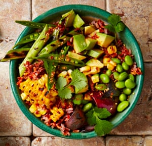 Red rice salad with avocado and grilled corn.