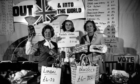 Barbara Castle and helpers display a variety of goods purchased in London and Brussels with the intention of showing that Britain should leave the Common Market.