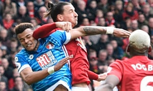 Zlatan Ibrahimovic, right, elbows Tyrone Mings during Manchester United's 1-1 draw with Bournemouth at Old Trafford on Saturday.