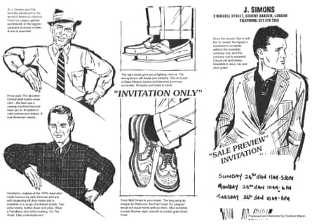 Recognise anyone? … a Simons flyer, offering that hint of Madison Avenue
