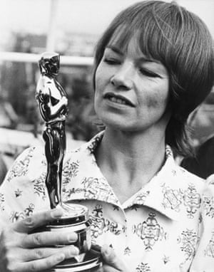 Glenda Jackson with the Oscar she won for Women In Love in 1971