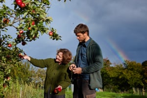 Jane and Harry inspect the apple and pear trees. A great crop of apples this autumn, though the wasps have been out in force eating many and making picking a little hazardous.