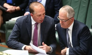 Prime Minister Malcolm Turnbull and immigration minister Peter Dutton in parliament.
