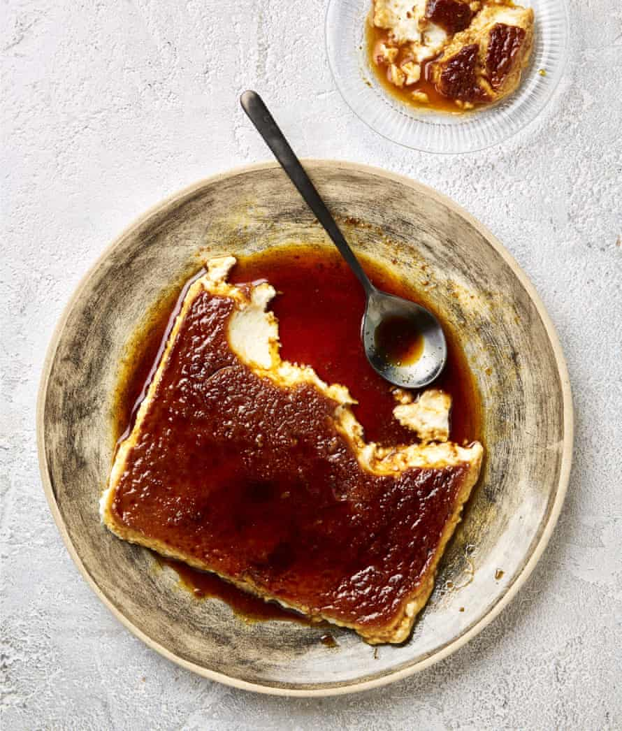 Yotam Ottolenghi's coconut and tofu flan with coffee caramel.