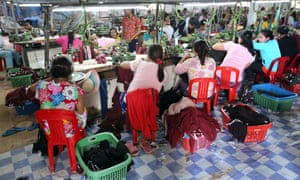 Female workers in a chinese operated textile factory in Thanaut Tee village Cambodia
