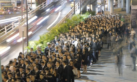 Hong Kong lawyers taking part in a silent protest earlier this month