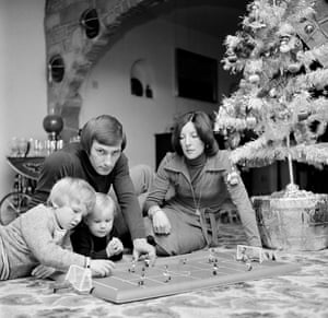 Jennifer Todd looks on as her husband, Derby County's Colin Todd, and their sons Andrew, left, and Colin Junior play Super Striker (Wembley Fast Pitch Edition) in 1976
