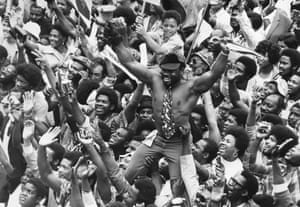 On 27 August 1973, fans of the West Indies cricket team celebrate their win over England at Lord's cricket ground, London.