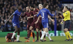 Rudiger is booked for a clumsy challenge on Sergi Roberto.