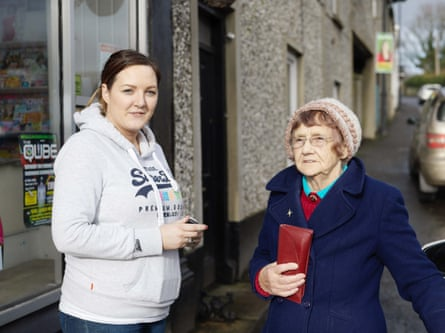 Rita Flynn and her granddaughter Majella Winters outside McCreesh's general store.