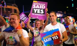 Marchers celebrate the yes result in the marriage equality vote