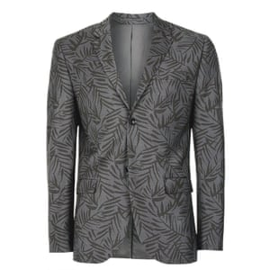 Grey Fern Print Skinny Fit Suit Jacket