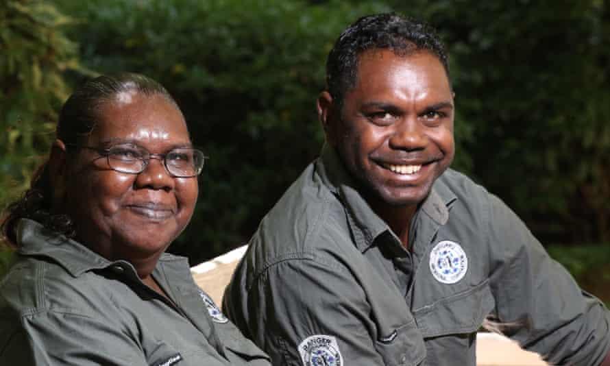 Velda Winunguj, board member of Dhimurru, established by Yolngu landowners in north-east Arnhem Land and Gathapura Mununggurr, senior ranger for the Dhimurru Indigenous protected area in north-east Arnhem Land, at the barbecue