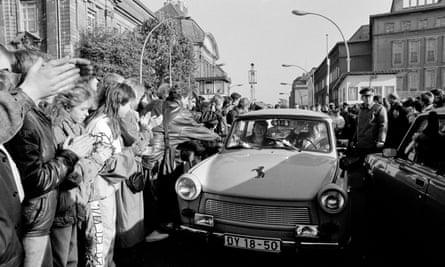 West Berliners welcome East Germans at Invalidenstrasse.