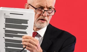 Jeremy Corbyn with redacted documents of secret trade talks