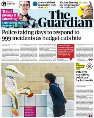 Guardian front page, Thursday 22 March 2018