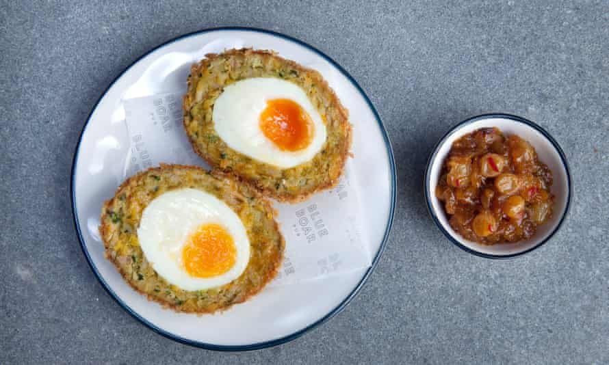 Coronation chicken scotch egg, Blue Boar pub, Westminster, London.
