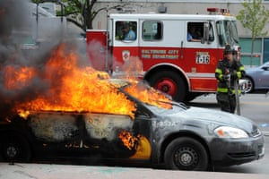Patrol cars were torched.
