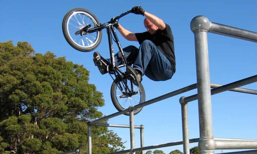 John Buultjens on one of his many BMX bikes.