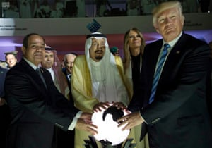 May 21, 2017 file photo, released by the Saudi Press Agency, from left to right, Egyptian President Abdel Fattah al-Sissi, Saudi King Salman, U.S. First Lady Melania Trump and President Donald Trump, visit a new Global Center for Combating Extremist Ideology, in Riyadh, Saudi Arabia.
