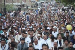 Muslims perform Eid al-Adha prayer at Liberty Square in Taiz, Yemen