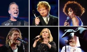 Who's No 1? Clockwise from top left, Metallica, Ed Sheeran, Whitney Houston, Sia, Adele and Kurt Cobain