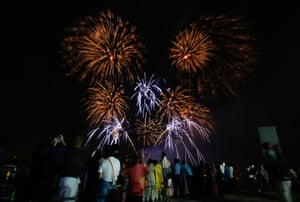 Fireworks illuminate the sky over the Yas marina in Abu Dhabi, United Arab Emirates