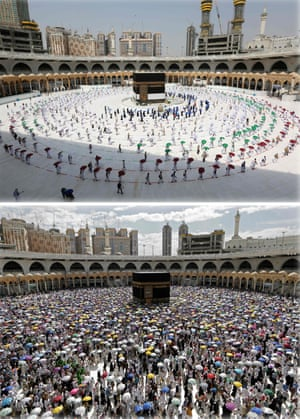 Mecca, Saudi Arabia This combination of pictures shows in the top picture, Muslim pilgrims walking around the Kaaba, Islam's holiest shrine, at the centre of the Grand Mosque at the start of the Hajj pilgrimage today and below, pilgrims during last year's pilgrimage