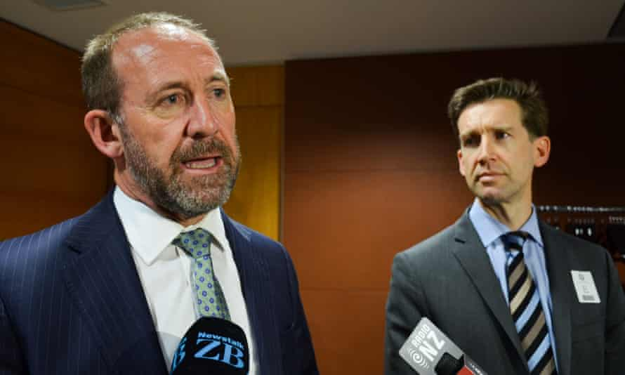 New Zealand Justice Minister Andrew Little and Google NZ senior manager of public policy and government affairs Ross Young speak to reporters in Wellington after their meeting.