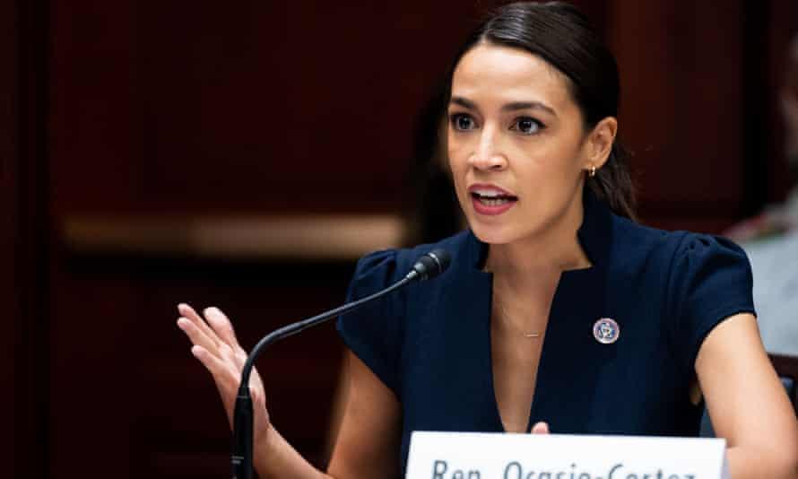 Representative Alexandria Ocasio-Cortez speaking at a Senate Climate Change Taskforce discussion in Washington, on 23 June.