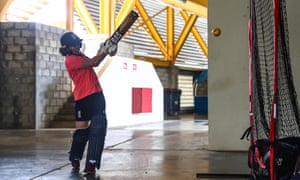 England's Tammy Beaumont has an indoor nets session at the Daren Sammy Ground in Saint Lucia.